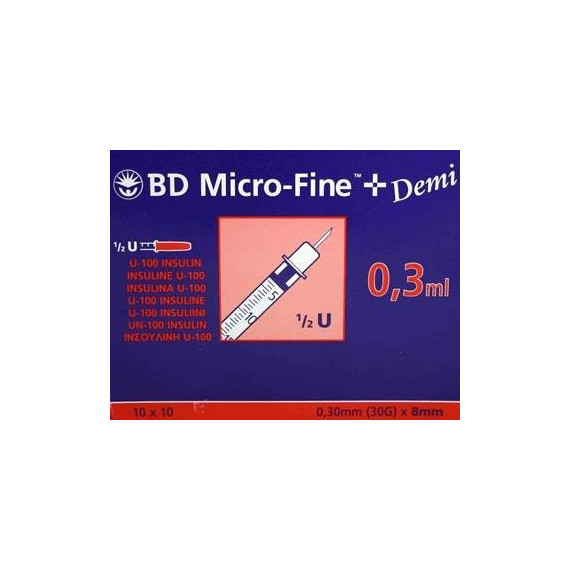 Jeringa insulina 0.3ml BD Micro-Fine c/aguja 0.30x8mm. Caja 100un.