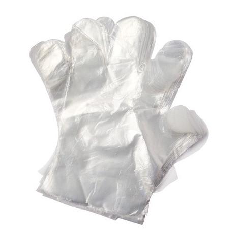 Guante plastico desechable paquete 100 un.